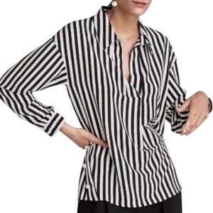 Zara. pearl embellishments blouse.